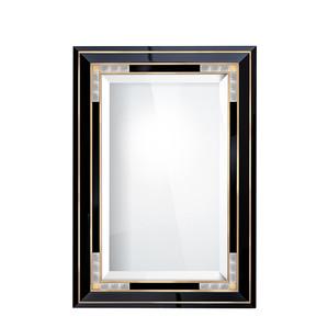 """Зеркало """"Черный лак, сатинированная золочением сталь"""" 138x96см"""