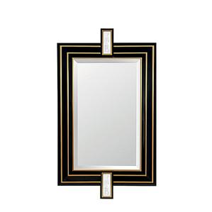 """Зеркало """"Сатинированная золочением сталь, черный лак"""" 138x96см"""