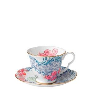 """Чашка чайная с блюдцем """"Синий и розовый"""""""